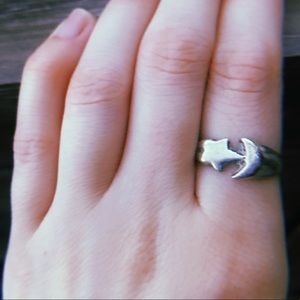 Sterling silver ring moon & star ring